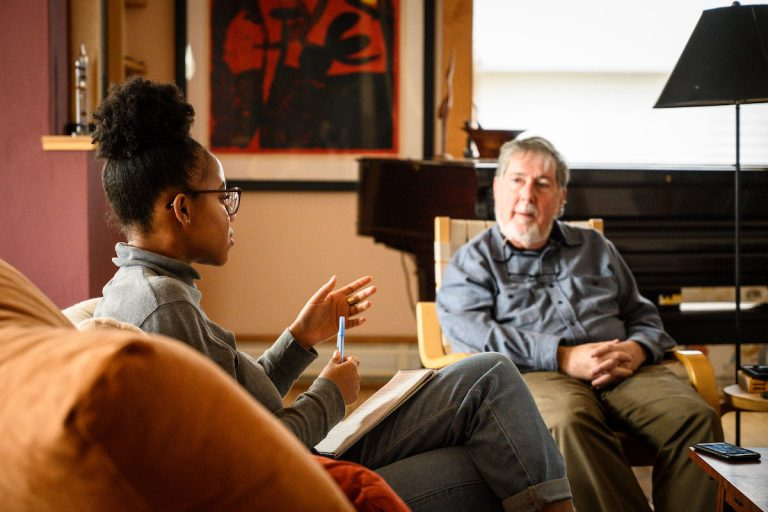 University of Wisconsin-Madison student Shiloah Coley conducts an interview with UW alum Frank Emspak