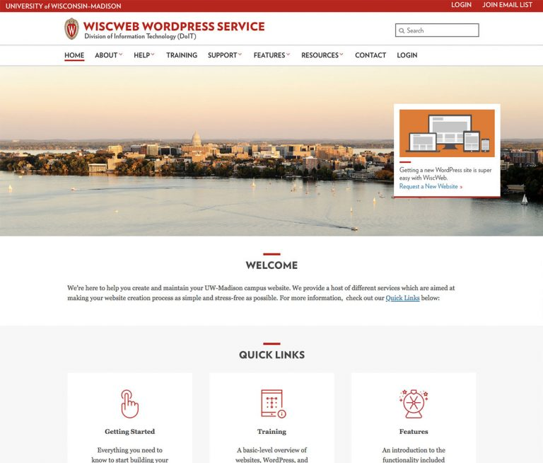 Screenshot of the WiscWeb website