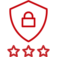 Line art image of a shield with a lock symbol with 3 stars
