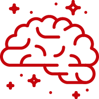Line art image of a brain with sparks