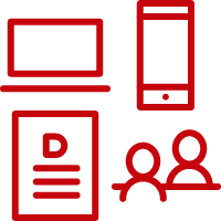 Line art image of a laptop, smartphone, written document, and in-person meeting