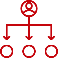 Line art image of a user on top of an organizational chart