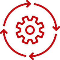 Line art image of arrows going around a gear