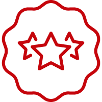 Line art image of three stars inside of a seal of approval