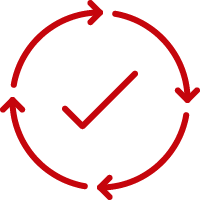 Line art image of a check mark encircled by arrows