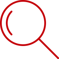 Line art image of a lmagnifying glass